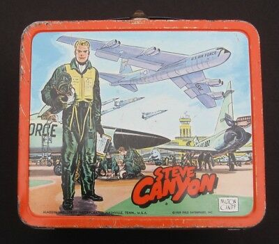 Vintage STEVE CANYON Lunchbox & Thermos - Comics & TV  Man Cave (1959) C-7 Nice!