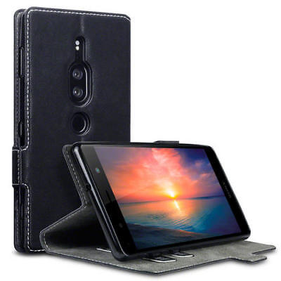 Terrapin Low Profile PU Leather Wallet Case for Sony Xperia XZ2 Premium - Black
