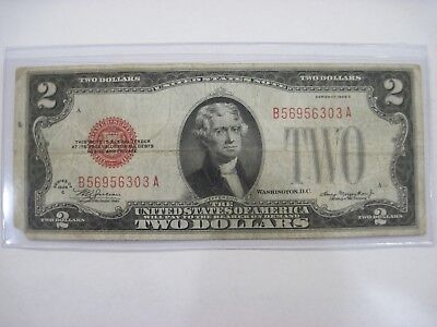 1928 C $2 Dollar US Red Seal Note Currency Circulated