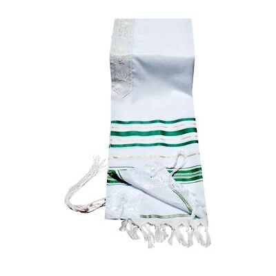"Prayer Shawl Tallit 24x72"" Green & Gold Trim Made in Israel"