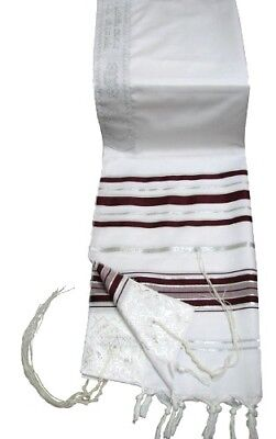 "Prayer Shawl Tallit 24x72"" Burgundy & Silver Trim Made in Israel"
