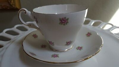 Vintage Regency Bone China Tea Cup and saucer With Gold Trim and Pink Flowers