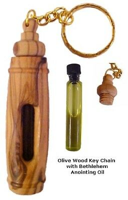 Olive Wood Tube Key Chain With Bethlehem Anointing Oil - Made in Bethlehem