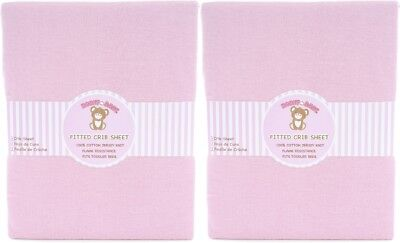 Honey Baby Solid Pink Toddler Bed or Crib Sheets 2-Pack (100% Cotton)