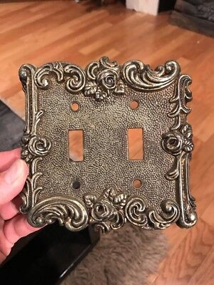 Vintage Ornate Floral Metal Light Switch Plate Cover Double Toggle