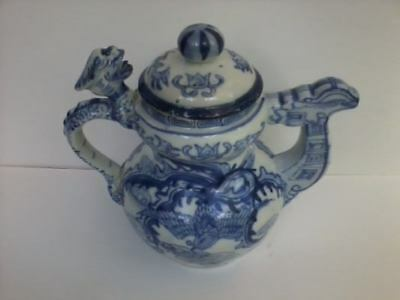 Vintage Old Chinese Blue & White Porcelain Dragon Phoenix Teapot Hand Painted
