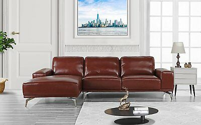 MODERN REAL LEATHER Sectional Sofa, L-Shape Couch w/ Left Chaise ...
