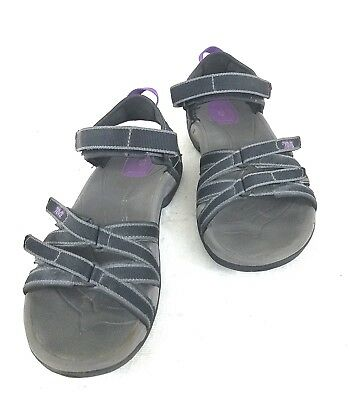f6b1bdb81bf3 TEVA 4266 Women s Black Grey Purple TIRRA Strappy Sports Sandals Size 7.5    38.5
