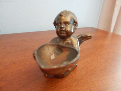 Vintage - Metal Cherub - Winged Angel - Heart Ring Holder - Occupied Japan