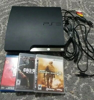 Sony PlayStation 3 Slim Charcoal Black Console With Games - PS3