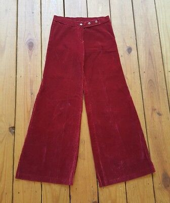 True vintage 70's 1970's XS size 1 low rise red velvet flare wide bell bottoms