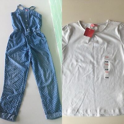 Girls Denim Romper Jumper Sz 10-11 polka dot with white t shirt NEW