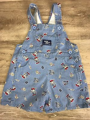 Vintage Baby B'gosh overalls shortalls Blue baseball bear 100% Cotton size 18 M