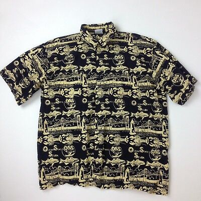 523a7f604 Rum Reggae Men's XL Aloha Hawaiian Lobster Fish Bridge OSS 100% Cotton