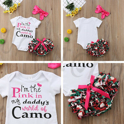 Fashion Newborn Baby Kids Girls Tops Romper+Shorts+Headband Outfit Set Clothes