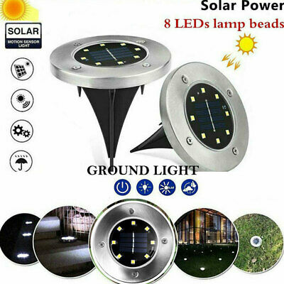 8LED Solar Power Buried Light Ground Decking Lamp Lawn Path Garden Landscape