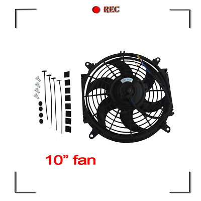 """10"""" 12V Pull/ Push Radiator Thermal Thermo Cooling Fan+Mounting Kit"""