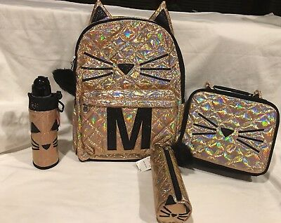 NWT Justice Gold Cat Quilted Style-Letter ~M ~Backpack To School Bundle 4 Pcs.!!