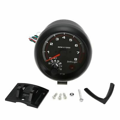 "3.75"" Car Universal Black Tachometer Gauge White Inter Shift Light 0-8000 RPM"