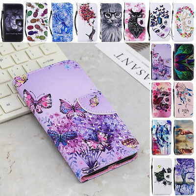 Pattern Shockproof Magnet Leather Flip Card Case Cover For Samsung Galaxy Phones
