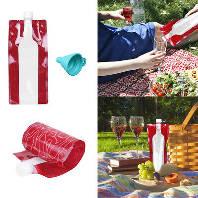 4Pac Foldable Wine Bag+Funnel Potable Wine Bottle Leak Proof Flask Holder 750ml