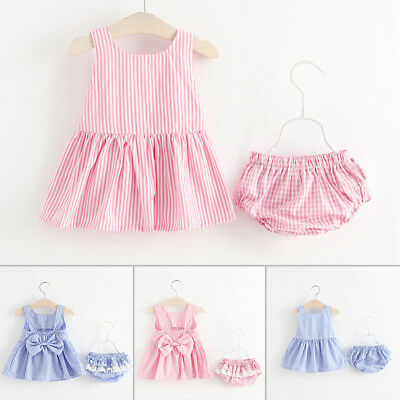 Summer Baby Girl Kids Backless Dress+Shorts Bloomers Dress Clothes Outfit Set