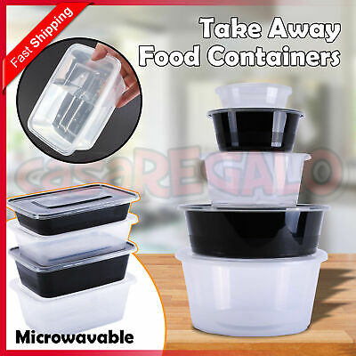 Take away Plastic Food Containers Meal Prep Microwavable Lunch Box Lids 1000ml