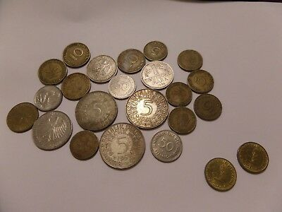 23 German Coin Mixed Lot Some Silver Includes 1951 J & G 2 Mark Coins