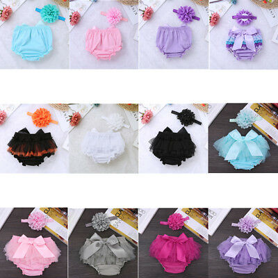 Baby Girls Bloomers Ruffled Pants Nappy Cover+Flower Headband Outfit Party Set