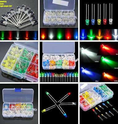100-1000pcs Assortment 3/5mm Red/Green/Blue/Yellow/White LED Diodes Light Kit