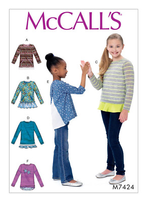 McCalls Pattern 7242 Child sizes 3-6, Pull over Tops with Pockets, Frills NEW