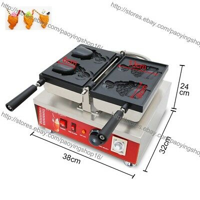 Commercial Nonstick Open Mouth Fish Waffle Machine Ice Cream Taiyaki Maker Baker