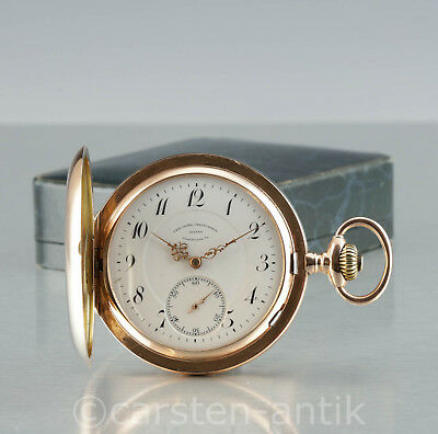 Very rare, heavy German Glashuette hunter Chronometer Pocket Watch 1915 14k Gold
