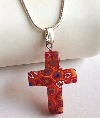 """Silver Millefiori Cross Necklace Murano Vintage Style Red Glass 22"""" Plus Size"""