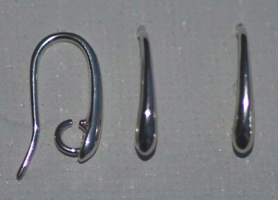 Sterling Silver Earring Ear Hook Drop Plain Short Thick Wires  With Loop x 1pr