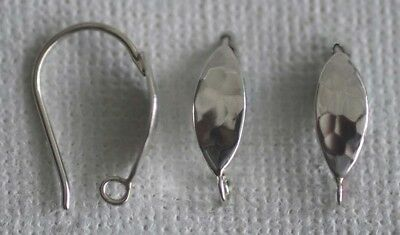 Sterling Silver Earring Ear Hook Hammered Elipse With With Loop  x 1pr