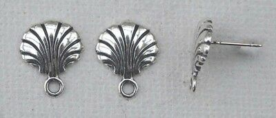 Sterling Silver Earring Ear Stud Clam Shell with Loop  x 1pr