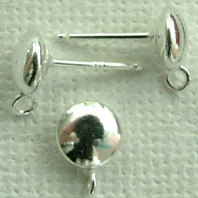 Sterling Silver Earring Ear Stud Flying Saucer 4mm 5mm 6mm with Loop x 1pr