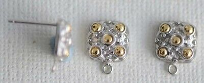 Sterling Silver Earring Ear Stud Square Gold Plated Circles Loop x 1pr