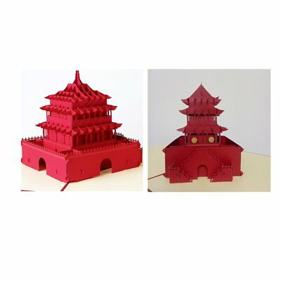 Vintage 3D Wishes Cards Creative Gift Xi'an Bell Tower Greeting Colorful Card I1