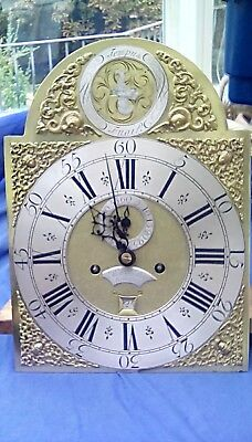 Antique Longcase Clock Movement London 1760 8 Day Brass Dial Fine Quality