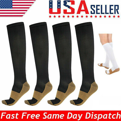 4/8 Pairs Knee High Copper Compression Socks 20-30mm Hg Mens / Women Pain Relief