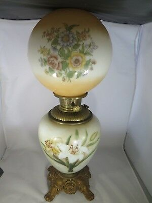 Antique Glass Gone With The Wind Lamp ~ Handpainted Not Electrified