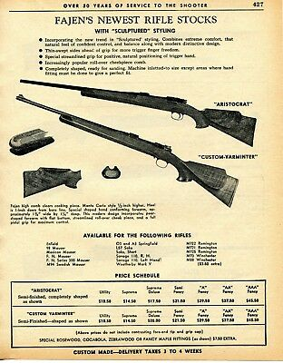 1962 PRINT AD of Fajen Rifle Stock Aristocrat & Custom-Varminter