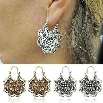 Antique Gypsy Tribal Ethnic Hoop Dangle Ear Studs Mandala Earrings Boho Jewelry