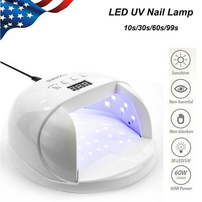 60W SUN7X LED UV Nail Lamp Gel Polish Light Dryer Curing Manicure Machine Timer