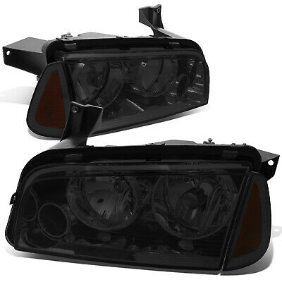 Fit 2006-2010 Dodge Charger Pair Smoked Houisng Headlight+Amber Turn Signal Lamp