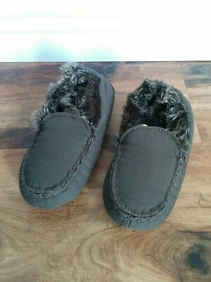 NEW Restoration Hardware Baby Child Luxe Faux Fur Lined Moccasins Slippers Large