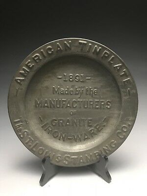 Antique 1891 Granite Iron Ware St. Louis Stamping Co Advertising Plate