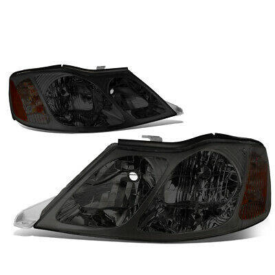 Fit 2000-2004 Toyota Avalon Pair Smoked Housing Amber Corner Headlight/Lamp Set